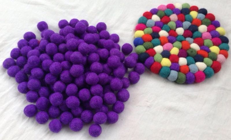 Handmade Felt Plain Purple Balls