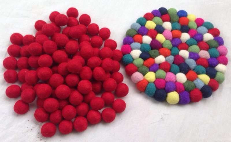 Handmade Felt Plain Red Balls